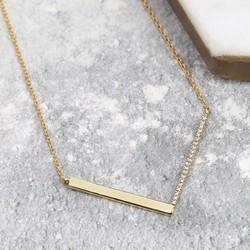 Diamante Chevron Necklace in Gold