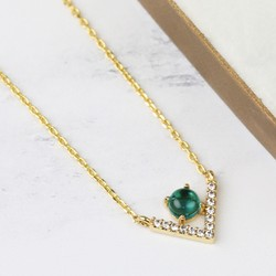 Diamante Chevron Pendant Necklace in Green and Gold
