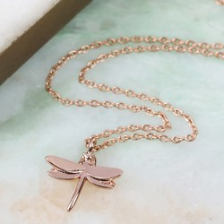 Rose Gold Dragonfly Pendant Necklace