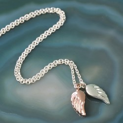 Silver and Rose Gold Angel Wings Necklace