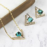Gold Diamante Chevron Necklace and Earrings Set