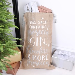 Festive 'Prosecco, Gin, Chocolate...' Christmas Sack