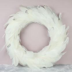 Sparkly White Feather Wreath
