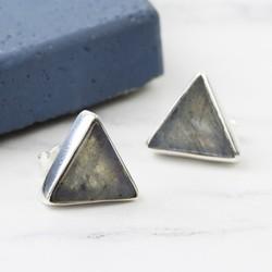 Triangle Labradorite Sterling Silver Stud Earrings