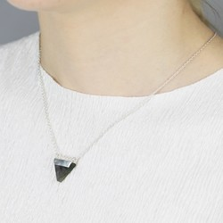 Labradorite Triangle Pendant Necklace in Sterling Silver