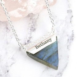 Personalised Labradorite Triangle Pendant Necklace in Sterling Silver
