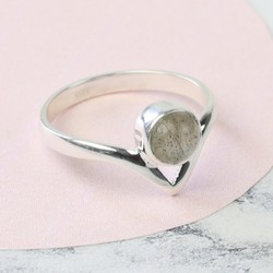 Labradorite Stone and Sterling Silver Chevron Band Ring