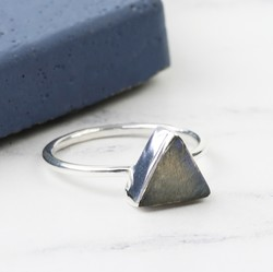Labradorite Stone Triangle and Sterling Silver Ring