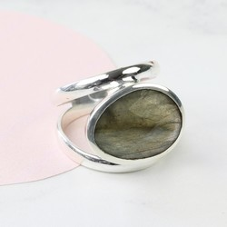 Labradorite Stone and Sterling Silver Double Band Ring