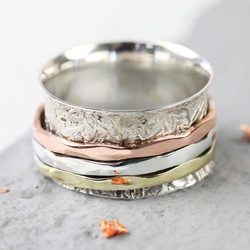 Sterling Silver Mixed Metal Patterned Spinner Ring