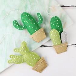 Set of 3 Felt Cactus Hanging Decorations