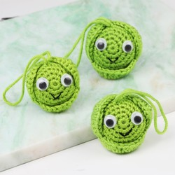 Set of 3 Knitted Brussels Sprout Hanging Decorations