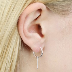 Delicate Sterling Silver Hoop and Bar Earrings