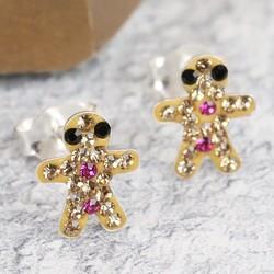 Diamante Gingerbread Man Stud Earrings