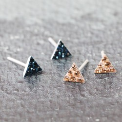 Set of 2 Navy and Nude Diamante Triangle Stud Earrings