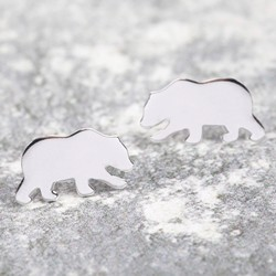 Shiny Sterling Silver Bear Stud Earrings