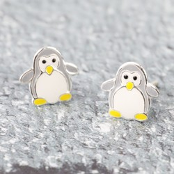 Sterling Silver Enamel Penguin Stud Earrings
