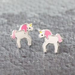 Sterling Silver Enamel Unicorn Stud Earrings