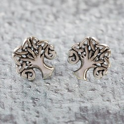 Sterling Silver Family Tree Stud Earrings