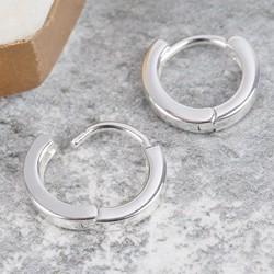Tiny Sterling Silver Wide Hoop Earrings