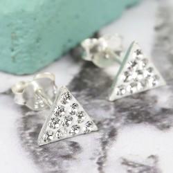 Sterling Silver Diamante Triangle Stud Earrings