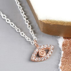 Sterling Silver Rose Gold Lucky Eye Necklace