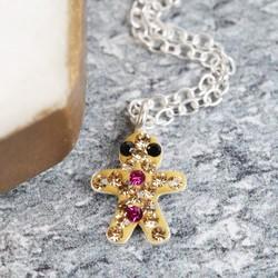 Diamante Gingerbread Man Necklace