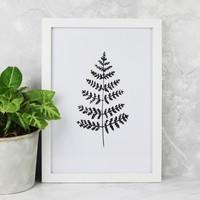 Monochrome Fern Leaf A4 Print