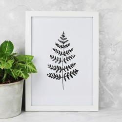 A4 Monochrome Fern Leaf Print