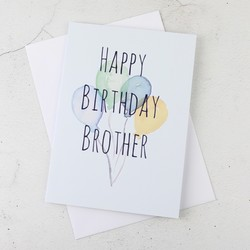 'Happy Birthday Brother' Birthday Balloons Greetings Card