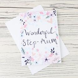 'Wonderful Step-Mum' Greetings Card