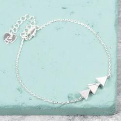 White Marble Triple Triangle Bracelet in Silver