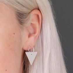 Silver Geometric Triangle Charm Stud Earrings