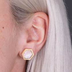 Blush Pink Marbled Resin Hexagon Stud Earrings
