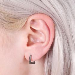 Delicate Black Square Hoop Earrings