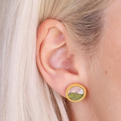 Pink and Green Marbled Resin Disc Stud Earrings