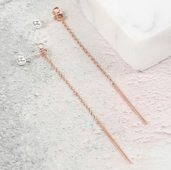Ball Stud and Bar Drop Earrings in Silver and Rose Gold