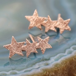 Etched Shooting Star Stud Earrings in Rose Gold