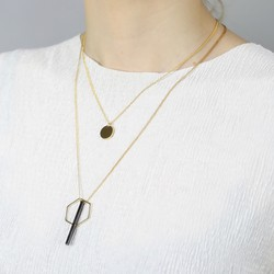 Layered Double Chain Geometric Charm Necklace in Gold