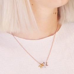 Mixed Metal Triple Star Snake Chain Necklace in Rose Gold
