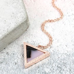Black and White Marbled Resin Triangle Necklace