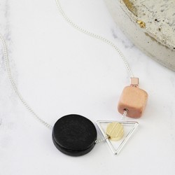 Geometric Wooden Cluster Pendant Necklace in Silver
