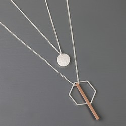 Layered Double Chain Geometric Charm Necklace in Silver