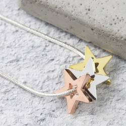 Mixed Metal Triple Star Snake Chain Necklace in Silver