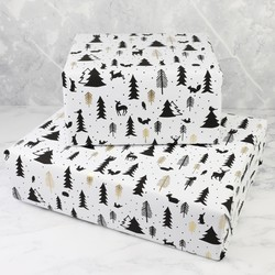 Monochrome Winter Woodland Wrapping Paper