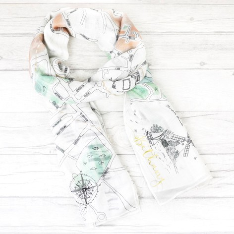 Personalised Illustrated Norwich Map Scarf