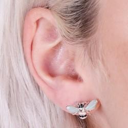 Silver and Mint Green Enamel Bumblebee Stud Earrings