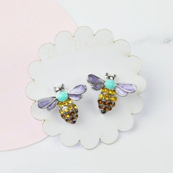 Colourful Bumblebee Stud Earrings in Silver