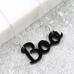 Handmade Black Acrylic 'Boo' Necklace in Silver