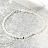 Personalised Handmade Seed Pearl and Sterling Silver Bar Bracelet